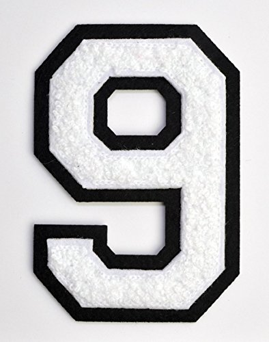 Varsity Number Patches - White Embroidered Chenille Letterman Patch - 4 1/2 inch Iron-On Numbers (White, Number 9 Patch)