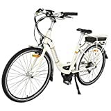 Image of Onway 28 Inch 7 Speed Women City Electric Bike with Pedal Assist, 36V 250W Motor 10.4Ah Sanyo Lithium Battery, 5-Level Assist Electric Bicycle