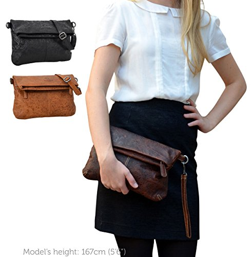 Stile a Moda Pratica studio Leder Shopping Cuoio ''Scarlett'' Tracolla alla in Vintage Borsa Borsetta Gusti Comoda Pelle 20 2H24 13 Marrone Cuoio Vera 0aq7p