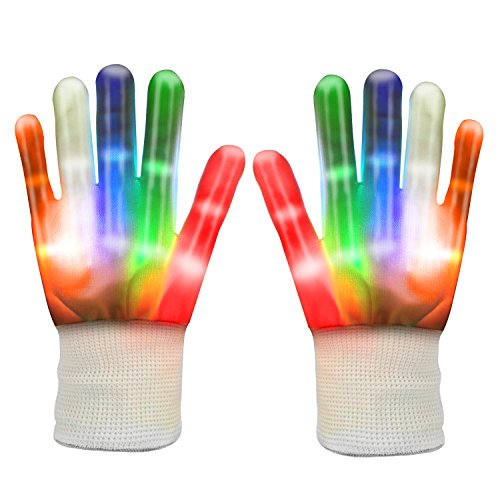 LED Gloves, TURATA Flashing LED Rave Children Finger Light Gloves with 5 Colors 6 Modes for Party Show Lightshow Christmas Gift Halloween Clubbing Disco (White)