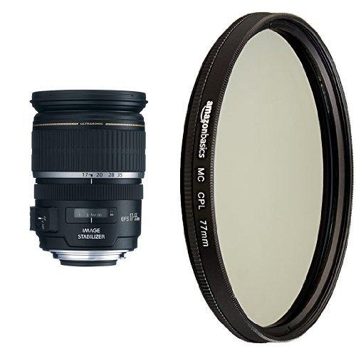 /2.8 IS USM Lens for Canon DSLR Cameras and AmazonBasics Circular Polarizer Lens - 77 mm ()