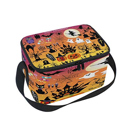 Use4 Happy Halloween Pumpkin Ghost Bat Insulated Lunch Bag Tote Bag Cooler Lunchbox -