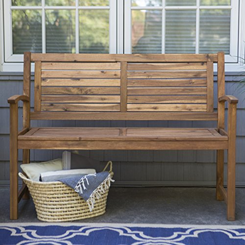 Slat Back Bench (Contemporary 4 ft. Horizontal Slat Back Outdoor Garden Bench Made Of Premium Acacia Wood With Slightly Curved Arms In Natural Acacia Wood Finish, 600 pounds weight capacity - Assembly Required)