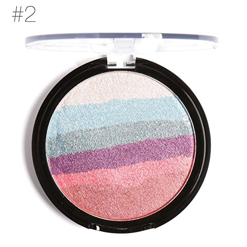 Kuulee Rainbow Highlighter Makeup Palette Cosmetic Blusher Face Shimmer Powder #02