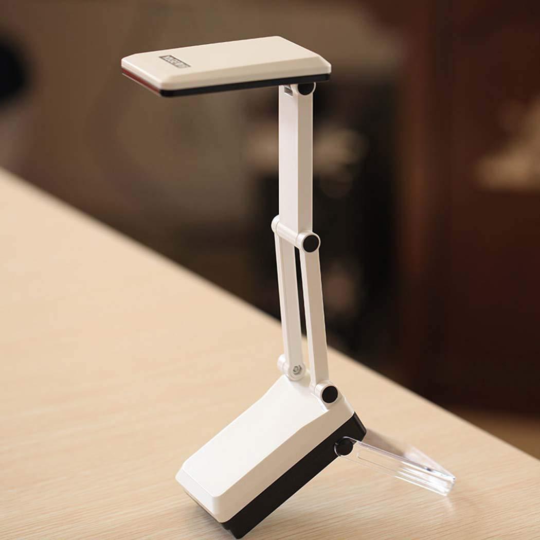 JUNJUNA LED-Schreibtischlampe Augenlampe mit USB-Ladestellung, Bürotisch-Lampe, unsichtbare Erhöhung Halterung, warme Augenquelle,Weiß