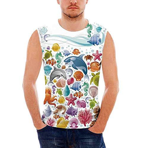 8b3b1e0292 iPrint Mens Sport Sleeveless Undershirts Tropical Animals Activewear Muscle  Tank Top
