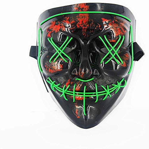 Halloween Masks for AdultsLed Purge Mask Light Up MaskHalloween Mask Led Mask Scary Halloween Mask for Halloween Green -
