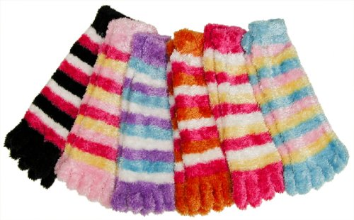 RSG Women's Plush Fuzzy Toe Socks 6-Pack,Striped, One ()