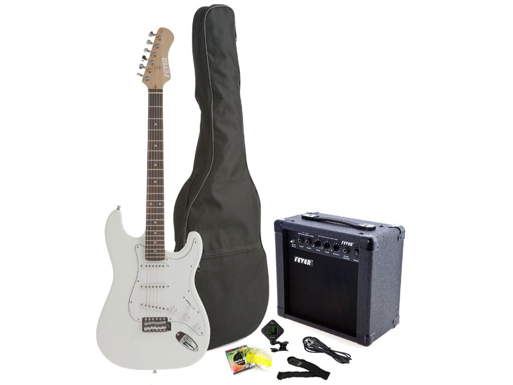Amazon.com: Fever Full Size Electric Guitar with 20-Watts Amplifier, Gig Bag, Clip on Tuner, Cable, Strap and Strings Color White, A600-20W-WH: Musical ...