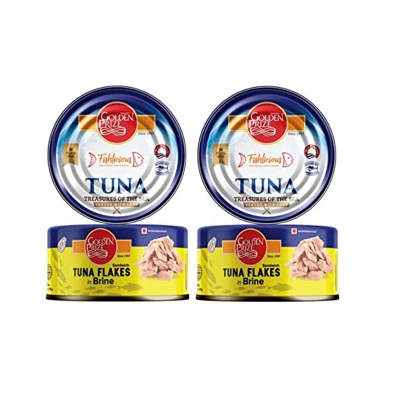 Golden Prize Tuna Sandwich Flakes in Brine 185Gms Each - Pack of 2 Units