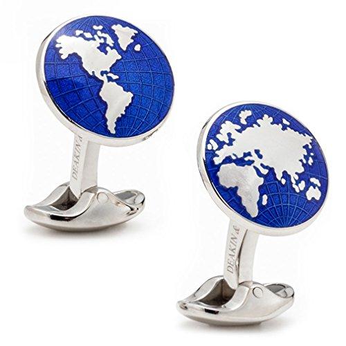 (Deakin and Francis Men's Sterling Silver Enamel World Cufflinks, Blue)