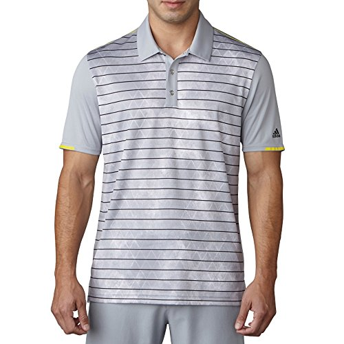 adidas Golf Men's Climachill Geo Stripe Print Polo, Mid Grey, Large