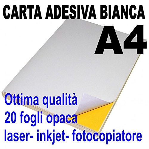21 x 29,7 stampanti laser inkjet fotocopiatrice Etichette adesive bianche A4 opaca 20 fogli