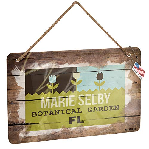 NEONBLOND Metal Sign US Gardens Marie Selby Botanical Garden - FL Christmas Wood Print - Selby Gardens