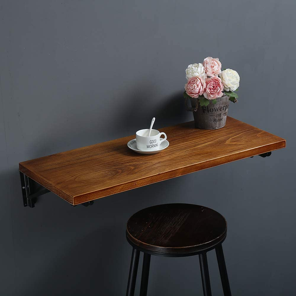 Industrial Rustic Folding Wall Mounted Workbench Drop Leaf Table, Dining Table Desk, Pine Wood Wall Mounted Bar Tables,Workbench,Study Table,Collapsible Butcher Block Solid Wood Table W47 X D14