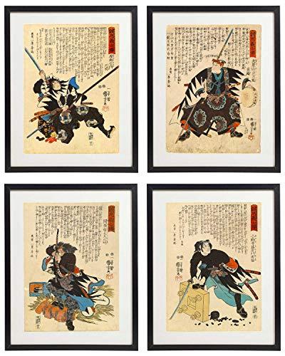 IDIOPIX Japanese 02 Samurai Art Warriors Painting Wall Art Set of 4 Prints UNFRAMED ()