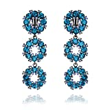 Women's Floral Glass Stone Cluster Dangle Clip On Earrings For Parties in Blue