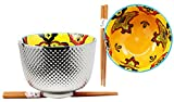 Atlantic Collectibles Set of 2 Luxury Silver Plated Ramen Noodle Bowls With Chopsticks 5''Diameter Made Of Ceramic Ideal For Home or Graduation Gift (Orange Pea Pods)