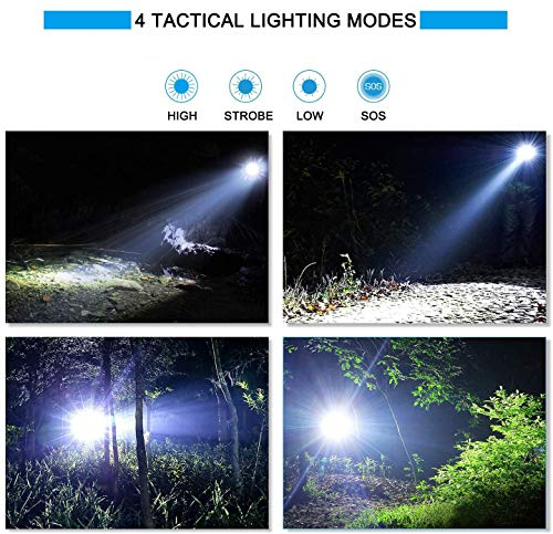 1500 Lumens LED Flashlight USB Rechargeable IP68 Waterproof Ultra Bright Tactical Flash light Torch for Outdoor Camping Hiking Cycling