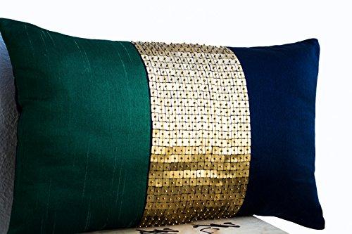 Amore Beaute Handmade Decorative Pillow Case - Beaded Throw Pillow Cover - Emerald Green Navy Blue Gold Color Block Silk - 12x20 Lumbar Pillow Cover