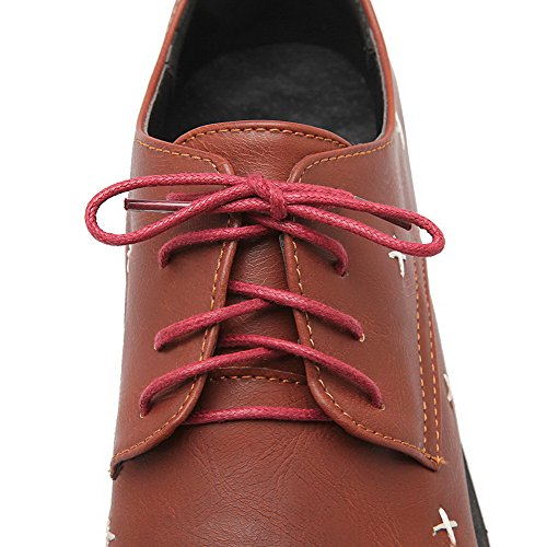 Odomolor Women's PU Round-Toe Low-Heels Lace-up Solid Pumps-Shoes Brown UYYfjAPv