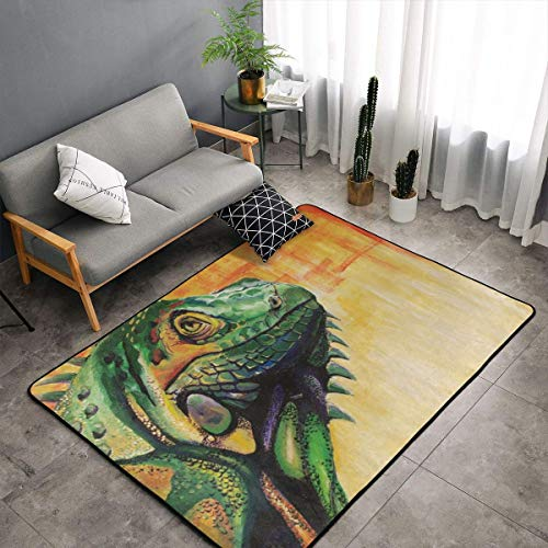 Jingclor Cool Lizard Painting Art Area Rugs, Bedroom Living Room Kitchen Mat, Non-Slip Floor Mat Doormats Nursery Rugs, Children Play Throw Rugs Carpet Yoga Mat