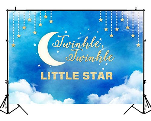 Moon Stars Decorations (Funnytree 7X5ft Blue Gold Twinkle Twinkle Little Star Party Backdrop Clouds Sky Baby Boy Shower Birthday Photography Background Night Watercolor Dessert Table Banner Decorations Photo Booth Studio)