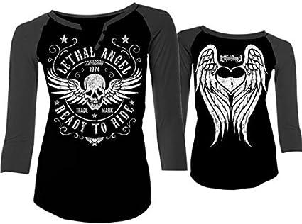 Black, Small Ready To Ride Baseball Sleeve Lethal Threat Womens Shirt White//Plum Sl