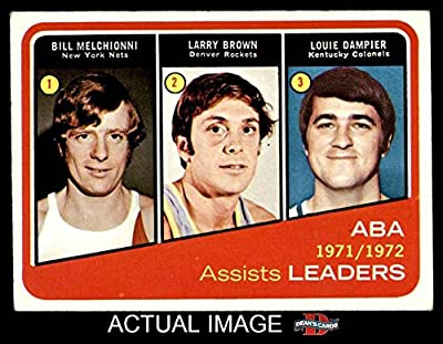 1972 Topps # 264 ABA Assist Leaders Bill Melchionni / Larry Brown / Louie Dampier New Jersey / Denver / Kentucky Nets / Rockets (Nuggets) / Colonels (Basketball Card) Dean's Cards 4 - VG/EX Nets / Rockets (Nuggets) / Colonels