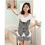 KAKA(TM) Women's Fashion Cartoon Summer Pure Cotton Pyjamas Homewear Sleepwear Short Sleeve short Pants (60-70kg XXL)-White Butterfly