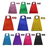 iROLEWIN Superheros Cape & Mask for Kids Costumes Dress-Up Party Games (Set of 10)