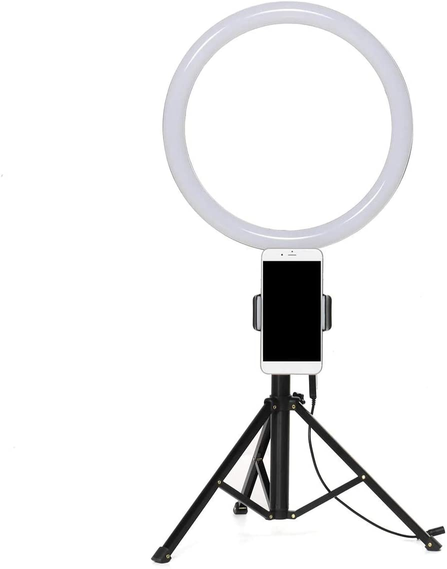 Color : White, Size : 13inch Canyixiu-Home Tripod Stand Phone Holder 13 inch 6500K LED Ring Light Dimmable Selfie Photo Lamp Phone Holder for Make Up Live Studio LED Ring Light Kit