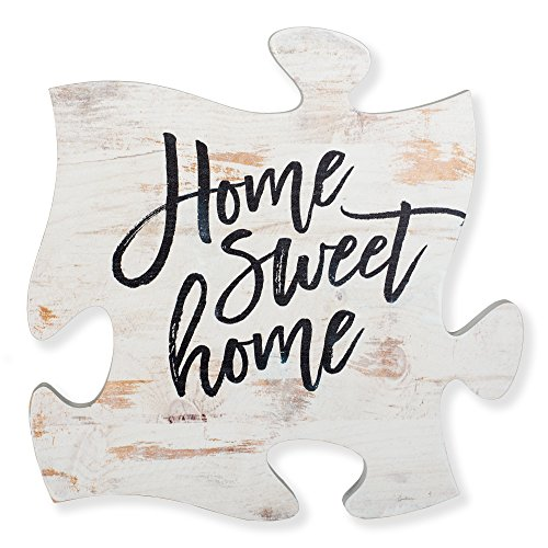 P. GRAHAM DUNN Home Sweet Home White Distressed Wood Look 12 x 12 Inch Wood Puzzle Piece Wall Plaque ()