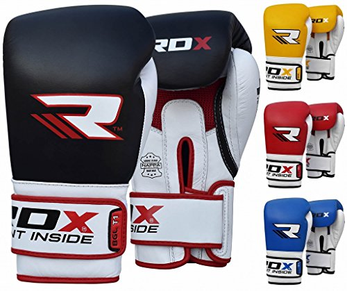 RDX Cow Hide Leather Boxing Gloves Sparring Punching Glove Bag Mitts kickboxing Training Muay Thai
