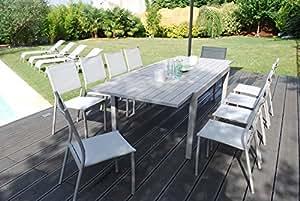 Salón de jardín Vital 240Topo–Mesa extensible (160/240x 100cm con 10sillas clara
