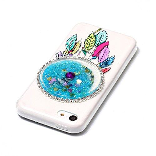 Funda iPhone 5C AllDo Carcasa de Arena Movediza Brillante Funda de Gel TPU Carcasa Líquida Flotante Sparkling Glitter Case Cover Funda Flexible Suave Carcasa Delgado Ligero Caja Dinámica de Bling con  Azul
