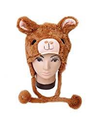TopTie Soft Animal Hat With Ear Flap, Furry Animal Hood Cap