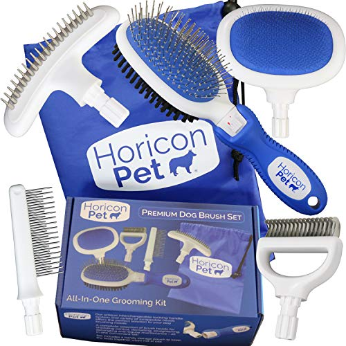 Horicon Pet Premium Dog Brush Set Interchangeable Dog Grooming Brushes - Dematting Undercoat Comb, Slicker Brush, Deshedding Edge Comb, Spring Comb, Ball Pin Brush, Bristle Brush (Set Dog Comb)