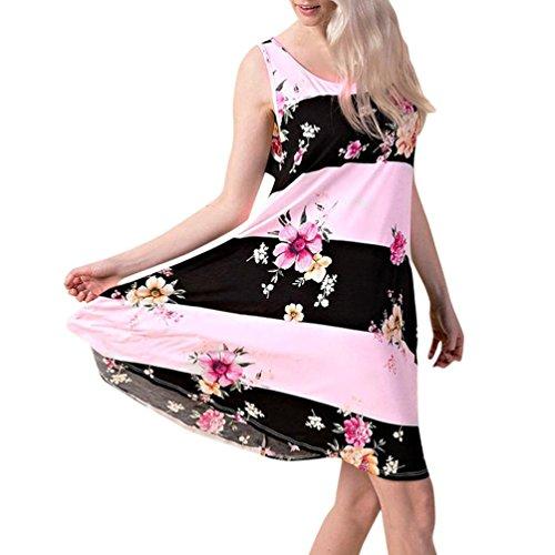 Solike Sommerkleid Damen Rundhals Ärmellos Blumendruck A-linie Kleider Frauen Loose Hemdkleid Freizeitkleid T-Shirt Kleid Rosa
