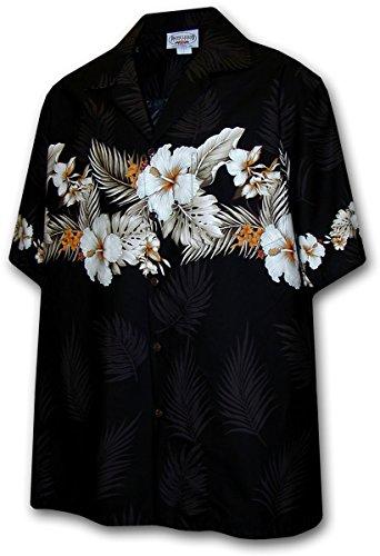Pacific Legend Hawaiian Shirt for Men - Black w/ Floral Stripe, Medium ()