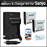 2 Pack Battery And Charger Kit For Sanyo VPC-GH4, VPC-CG102, VPC-GH2, VPC-CS1, VPC-CA102, VPC-CG10, VPC-CG20 VPC-PD2BK Digital Camcorder Includes 2 Extended (900Mah) Replacement Sanyo DB-L80 Batteries + AC/DC Travel Charger + Screen Protectors + More
