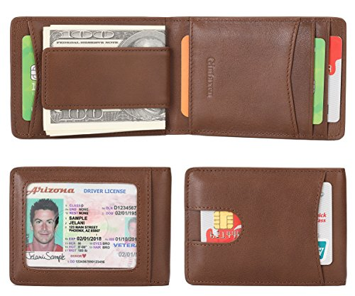 Mens Leather Covered Money Clip - Mens Wallet Slim Genuine Leather Front Pocket Wallet for Men Billfold with ID Window Magnetic Money Clip Quick Access Slot and RFID Blocking - Brown