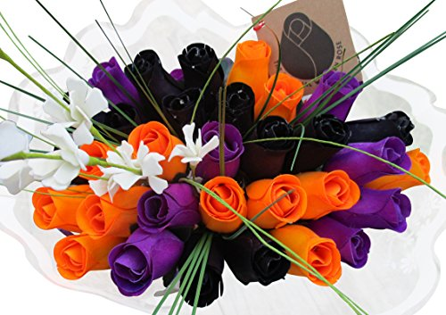 The Original Wooden Rose Black, Orange, and Purple Halloween Bouquets (3 Dozen) ...