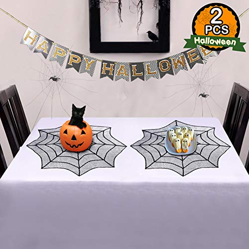 AerWo Lace Spider Web Halloween Tablecloth with 2pcs, 30-Inch Round Table Topper for Halloween Table Decorations, Black]()