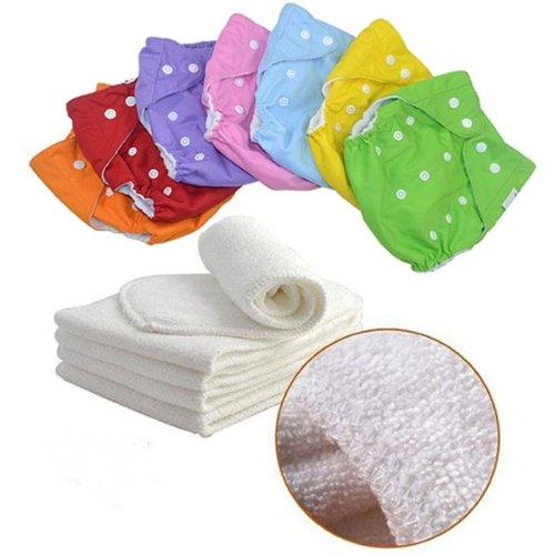 Waschbare Höschenwindeln, 7 Stück, mit Einlagen, 7 Farben, Einheitsgröße, mitwachsend