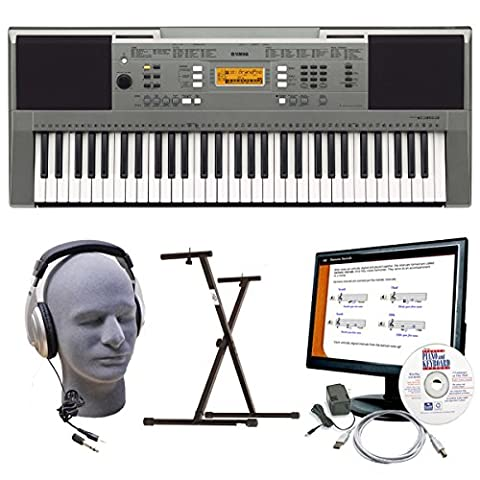 Yamaha PSRE353 Portable Keyboard with Headphones, Secure Bolt Stand, Power Supply, USB, and Instructional (Midi To Headphone Jack)
