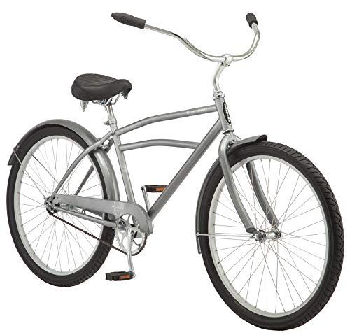 Schwinn Huron Men's Cruiser Bike, Featuring 17-Inch/Medium Steel Frame, Single-Speed Drivetrain, Full Front and Rear Fenders, and 26-Inch Wheels, Grey
