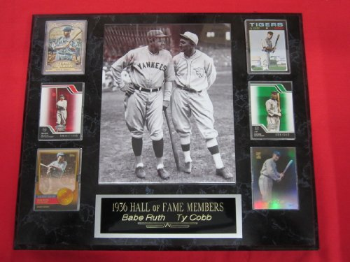 Babe Ruth Ty Cobb 6 Card Collector Plaque w/8x10 RARE VINTAGE Photo (Rare Photo Vintage)