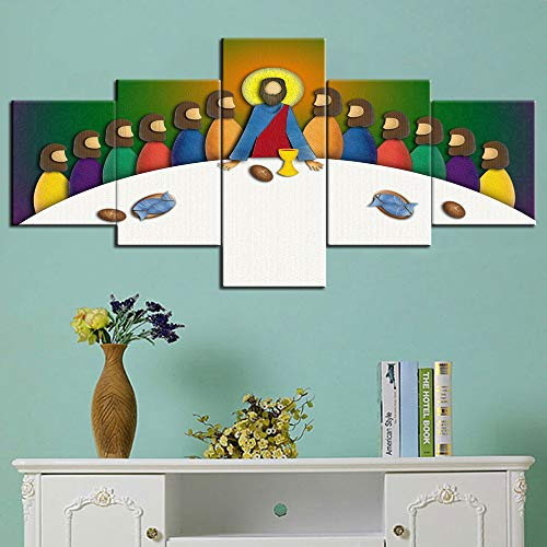 Art Dinner - Jesus Last Supper Picture Wall Art for Living Room Jesus Christ with Apostles Paintings Canvas 5 Piece Artwork Home Decor Giclee Wooden Framed Gallery-Wrapped Stretched Ready to Hang(50''Wx24''H)
