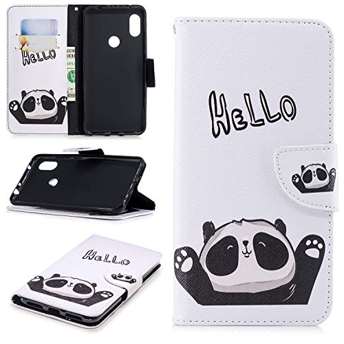 Price comparison product image Gostyle Xiaomi Redmi Note 6 Leather Wallet Flip Case, Cartoon Print Hello Panda Pattern Magnetic Closure Stand Cover with Card Holder Money Pouch, Inner Soft TPU Bumper Shockproof Cover